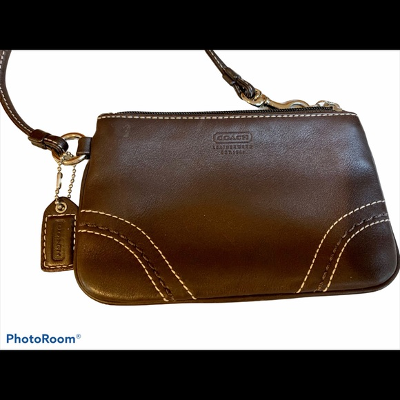 (2 for $20) Coach outlet brown leather wristlet